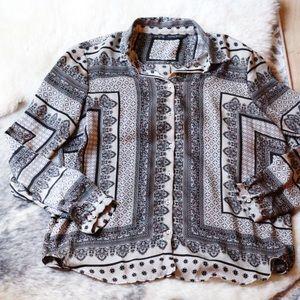 Zara Scarf Print Blouse Size L